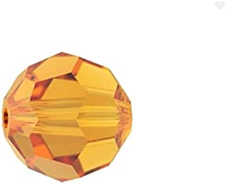 Swarovski 施华洛世奇圆形水晶珠耳环手链脚链项链钥匙链魅力珠宝制作配件用品 黄玉 8mm