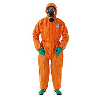 Ansell Healthcare OR50-T-92-122-07 MICROCHEM AlphaTec Series 5000 Coverall,带翻盖的综合袜子,双拉链闭合和袖口带针织内袖口,3XL 码,橙色(6 件装)