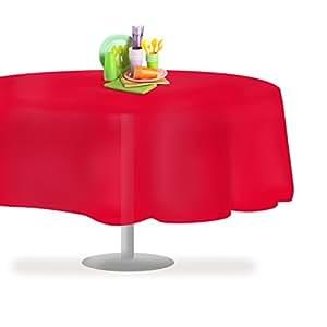 """高级塑料桌布54inch. X 30.48cm 。 矩形桌布 dluxware 6–12只装 红色 84"""" Round 12 Pack"""