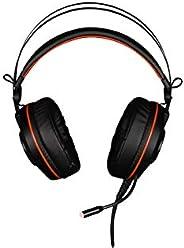 Konix WoT GH-40 PC 游戏耳机兼容 PS4 7.1 环绕高清音频电脑 USB 游戏耳机*麦克风,带橙色 LED 背光和舒适垫子