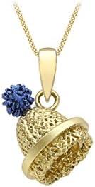Carissima Gold 女式 9 克拉黄金蓝色摇摆无檐小便帽吊坠 9 克拉黄金钻石切割链长 46 厘米/18 英寸 1.46.3774