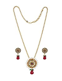 Bindhani 新娘印度宝莱坞红绿宝石人造珍珠吊坠项链珠宝耳环套装
