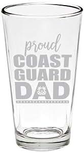 Military Beer 玻璃鱼线 Proud Coast Guard Dad Pint