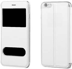 yzhen @ iphone 6s plus 皮革保护套,修身 PU 皮革智能 [ 双窗 ] View 对开式翻转手机套超薄支架手机壳,适用于 iPhone 6Plus ,6S PLUS (25.4CM ) , 白色