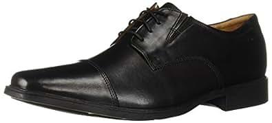 Clarks 男士Tilden Cap商务休闲鞋,Black Leather,7 M US