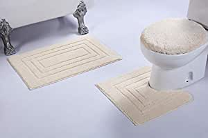 Mk Home 3 件套防滑彩色浴巾 矩形图案浴室带浴室地毯、轮廓垫和盖子套 全新 # 66 White/Ivory 3pc Bath Set