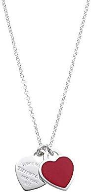 [蒂芙尼] TIFFANY 纯银×红漆 手工 RTT 迷你 双心 吊坠 项链 41~46cm 【平行进口商品】 63520594