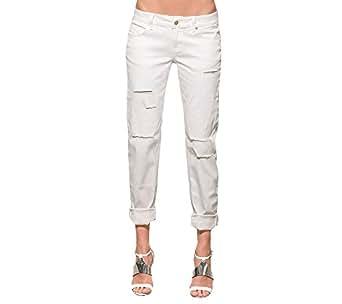 Standards & Practices 女士弹力斜纹做旧修身男友牛仔裤 2407 Tear 27 x 32Length