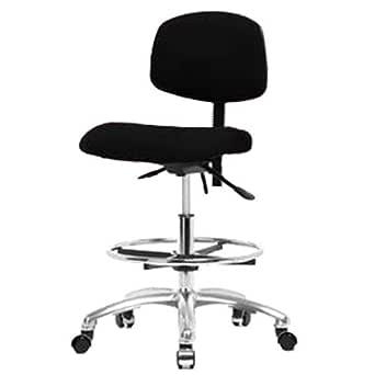 Thomas ECOM FMBCH-CR-T0-A1-CF-CC-F42 织物中号座椅带镀铬底座,镀铬脚环,无倾斜,可调节扶手,镀铬脚轮,黑色
