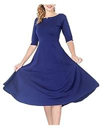 marycrafts 女式修身喇叭茶中長款連衣裙適用于辦公室商業工作