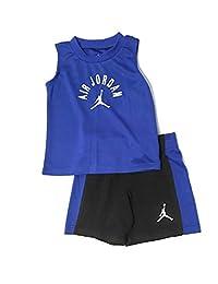 Jordan Air 婴儿男孩背心和短裤套装黑色/皇家蓝 12 个月