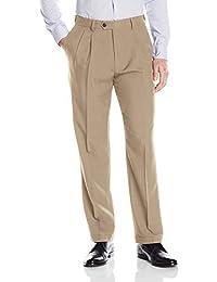 Haggar Men's eCLo˜ Stria Expandable-Waist Pleat-Front Dress Pant