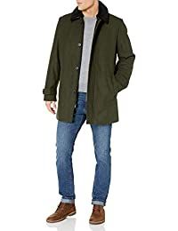 DKNY 男式羊毛混纺散步大衣,可拆卸羊羔绒领