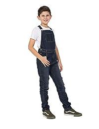 Wash Clothing Company 男孩修身深水洗牛仔围兜 年龄 4-14 岁儿童粗布裤