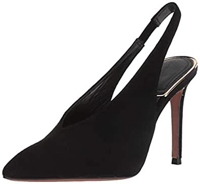 BCBGMAXAZRIA 女士 Cassie 后吊带高跟鞋 黑色麂皮 7.5 M US