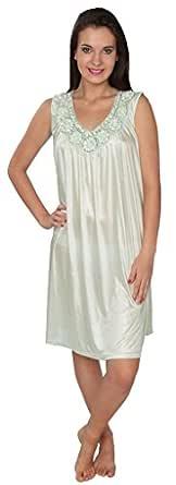 Beverly Rock 女式纯色针织长款闪亮缎丝绸睡衣 Light Green_F035 XX-Large