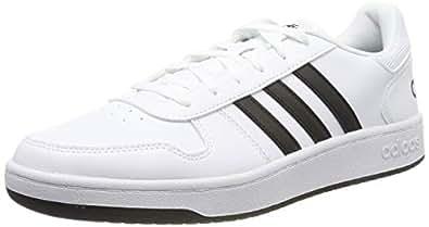 adidas 阿迪达斯 男式 Hoops 2.0 篮球鞋 白色 (Ftwbla/Negbás/Ftwbla 000) 10 UK