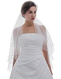 2T 2 层水晶珍珠新娘婚礼头纱 指尖长度 91.44cm
