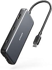 Anker USB C 集线器,PowerExpand 8 合 1 USB C 适配器,100W 功率输出,4K 60Hz HDMI 端口,10Gbps USB C 和 2 个 USB A 数据端口,以太网端口,micr
