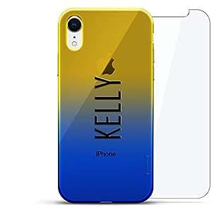奢华设计师,3D 印花,时尚,高端,高端,Chameleon 变色效果,360 保护玻璃包手机套 iPhone Xr - Dusk Blue Tamara,现代字体名字LUX-IRCRM2B360-NMKELLY2 NAME: KELLY, MODERN FONT STYLE 蓝色(Dusk)
