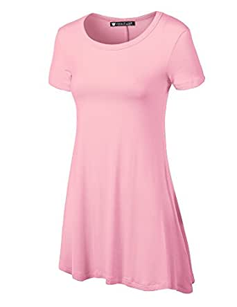 LL Womens Short Sleeve Trapeze Tunic Shirt - Made in USA  Wt770_pink XX-Large