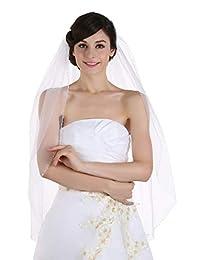 1T 1 层串珠边缘新娘婚礼头纱肘部长度 76.2 厘米