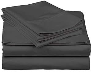 "Texas Linen Factory RV 床单套装 RV 尺寸白色 * 超长纤维棉 400 支 4 件套 - 适合高达 45.72 cm 超深袋的床垫抗皱不褪色 RV 60X80 深灰色纯色 California King 72X84-18"" Deep"