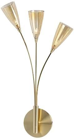 Firstlight Capsule 卤素壁灯 3个灯泡 12 V/20 W 抛光黄铜 琥珀色玻璃 淡色