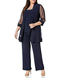 R&M Richards 女士加大串珠颈长裤 2 件套