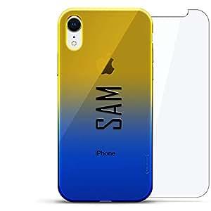 奢华设计师,3D 印花,时尚,高端,高端,Chameleon 变色效果,360 保护玻璃包手机套 iPhone Xr - Dusk Blue Tamara,现代字体名字LUX-IRCRM2B360-NMSAM2 NAME: SAM, MODERN FONT STYLE 蓝色(Dusk)