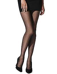 Marilyn 时尚欧式图案连裤袜金色微光波点黑色星星