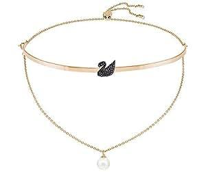 Swarovski 施华洛世奇 奥地利品牌 标志性天鹅形项链 黑色 玫瑰金镀层5351807