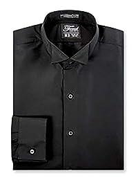 Luxe Microfiber 男士合身的翼领可转换袖口燕尾服
