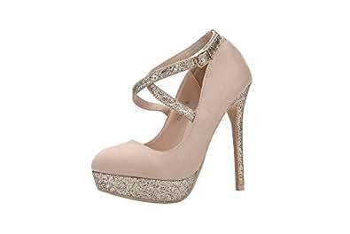 MILA 女用 (elva26) 女式时尚点缀 sparkles 派对高跟鞋高跟细高跟性感带修身吊带连衣裙鞋 裸色 11 B(M) US