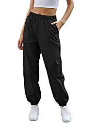 SweatyRocks 女式休闲抽绳腰慢跑运动工装裤带口袋