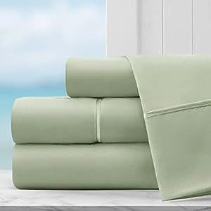 Coastal Comfort 埃及长绒棉奢华*店系列床单套装 - *店品质超软双磨毛超细纤维床单,带深口袋 - 低*性 淡紫色(Sage) 加州King size AL-CCSHT- CK - SGE