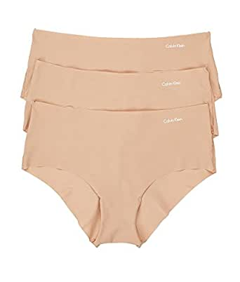 Calvin Klein 女士 Invisibles 低腰内裤 3 条装 Light caramel Small