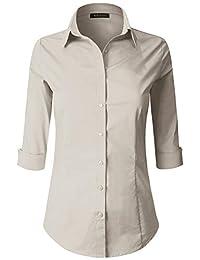 ELF FASHION 女士七分袖宽松合身秋千束腰上衣基本款 T 恤