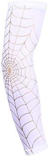 BYB 男式、女式和青少年凉爽白色蜘蛛网纹身臂套防紫外线*设计篮球运动 Mangas para Brazos 出品