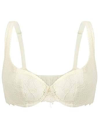 Wingslove 女士钢圈文胸舒适蕾丝文胸日常花卉棉质罩杯文胸 米色 42B