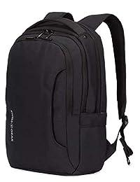SWISSGEAR 3573 笔记本电脑背包 适用于学校、工作和旅行 - 黑色/白色标志