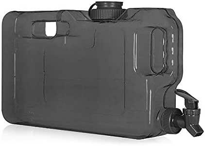 Slimline 饮料水容器分配器水壶,带龙头,超薄透明,适用于冰箱/便携式/紧凑,不含 BPA 黑色 1.1 gallon