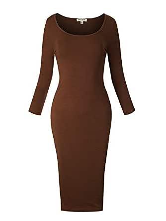 Instar Mode 女式经典弹力紧身迷你/中长连衣裙 Idrw028 Brown Large