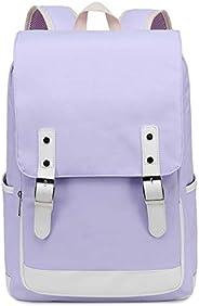 笔记本电脑学校背包女孩书包青少年大学旅行背包 870 Purple
