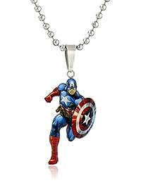漫威漫画男孩不锈钢美国队长人偶吊坠项链,40.6cm