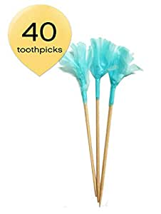 """Simply Baked Paper Frill Appetizer Toothpick, Turquoise Frill on Natural Wood Pick, Disposable and Sturdy, 2.5"""" Long - Pack of 40"""