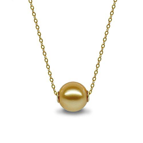 骏禾珠宝 路路通畅 AKOYA海水珍珠(8-9mm)项链吊坠2017新年礼物 (南洋海水金珠)