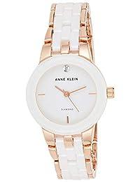 ANNE KLEIN 女士 AK/1610WTRG 鉆石點綴手表,白色