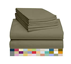 LuxClub 4 件套竹纤维床单套装 35.56 cm 深套口床单环保,无皱,低*性,*,吸湿排汗,*,*,抗褪色,丝滑,环保产品 橄榄色 King LUXBAMBOO-ATJ-OLIVE-KG-FL
