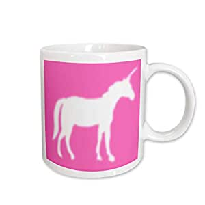 3dRose White Unicorn Silhouette on Hot Pink, Ceramic Mug, 15-Oz